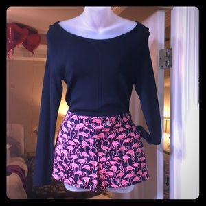 Jcrew Navy Shorts with Pink Flamingos. Size 4